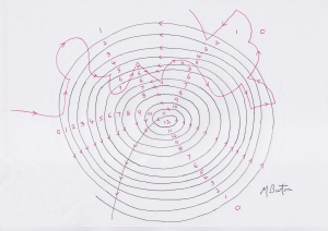 Part of initial Winding Number spiral for Whirlpool  painting.  Mick Burton, continuous line.