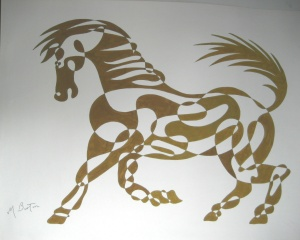 Golden Horse, continuous line drawing and alternate shading, by Mick Burton.  Notelet design for J Arthur Dixon Ltd, Isle of Wight, 1969.