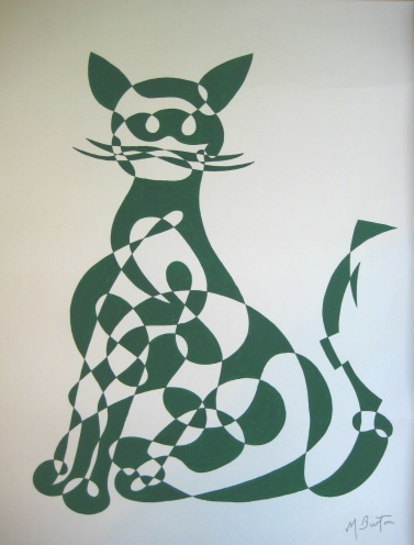 Green Cat, continuous line drawing and alternate shading, by Mick Burton.  Notelet design for J Arthur Dixon Ltd, Isle of Wight, 1969.