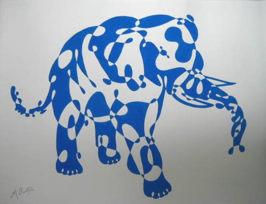 Blue Elephant, continuous line drawing and alternate shading, by Mick Burton.  Notelet design for J Arthur Dixon Ltd, Isle of Wight, 1969.