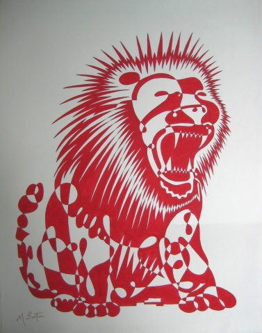 Red Lion, continuous line drawing and alternate shading, by Mick Burton.  Notelet design for J Arthur Dixon Ltd, Isle of Wight, 1969.