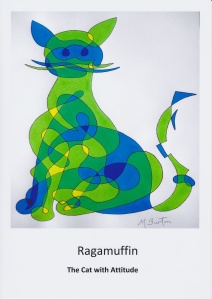 Ragamuffin, green cat, continuous line drawing with colour sequence.  Greetings Card (front)  by Mick Burton.