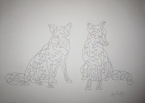 """Gledhow Foxes Sunbathing"". Association of Animal Artists ""British Wildlife"" exhibition, February & March 2015. Mick Burton, Single Continuous line drawing."