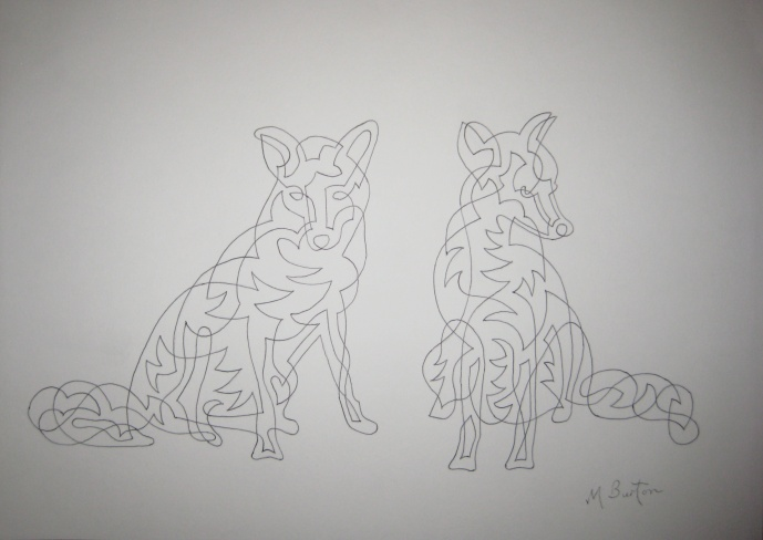 """Gledhow Foxes Sunbathing"".  Association of Animal Artists ""British Wildlife"" exhibition, February & March 2015.  Mick Burton, Continuous line drawing."