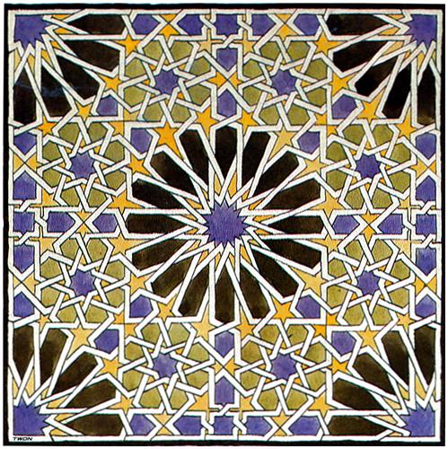 Escher painting 1922 of Islamic Mosaic tile at the Alhambra.  WikiArt.  Continuous line study by Mick Burton.