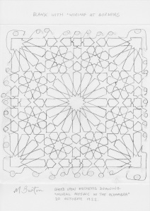 Escher Islamic Tile.  Basic line structure, with border connections. Mick Burton continuous line study.