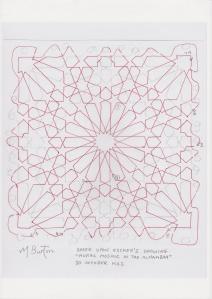 Main continuous line, one of two.  Escher Islamic tile design.  Mick Burton continuous line study.