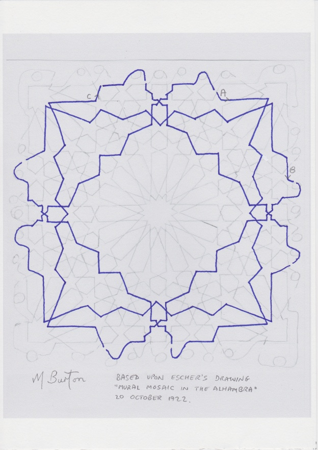 Minor continuous line, 2nd of two.  Escher Islamic tile design.  Mick Burton continuous line study.