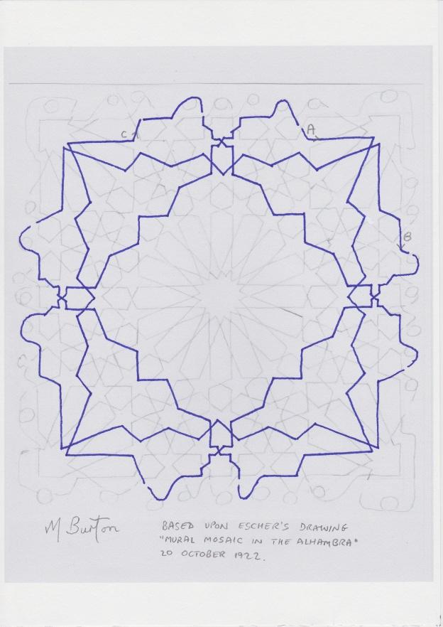 Minor continuous line, 2nd of two.  Escher Islamic tile design.  Mick Burton continuous line study.