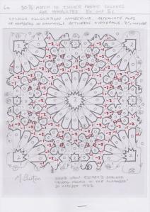 Five colour number allocation on continuous lines for Escher Mosaic.  Mick Burton study.