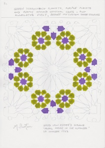 Allocation of all green colours and changes of black to purple on Escher Mosaic.  Mick Burton study.