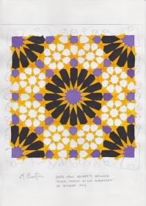 229 colour sequence areas matching original Escher Mosaic colouring.  Mick Burton study.