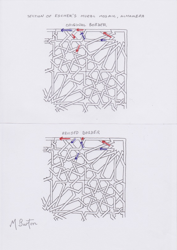 Change of Border on Escher Mosaic to enable one continuous line. Mick Burton study.