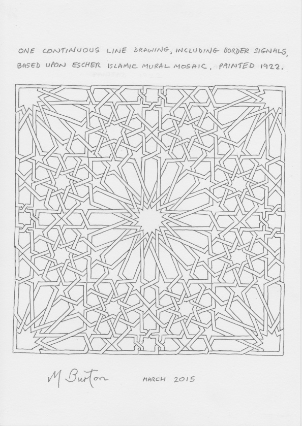 One Continuous Line Drawing, including Border signals, based on Escher Islamic Mosaic.  Mick Burton, March 2015.