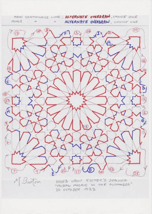 Minor Continuous Line, Alternate Overdraws in Red and Blue.  Mick Burton Escher Mosaic study.