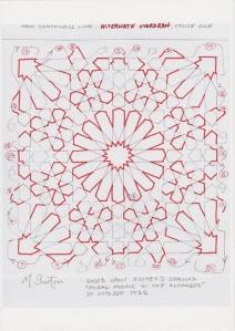 Main continuous line, Alternate Overdraw, choice 1.  Mick Burton, Escher Mosaic study.