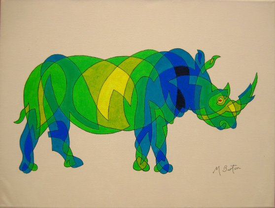 Rhinoceros, continuous line drawing with colour sequence.  Based on Mick Burton demonstration.