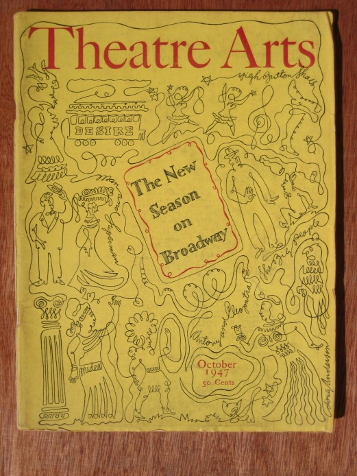 The New Season on Broadway, a one line drawing cover for Theatre Arts magazine, October 1947, by Doug Anderson.