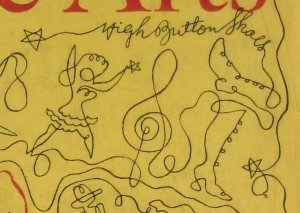 High Button Shoes, detail of The New Season on Broadway cover for Theatre Arts, October 1947, by Doug Anderson.  One Line Drawing.