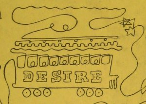 Street Car Named Desire, detail of The New Season on Broadway, cover for Theatre Arts, October 1947, by Doug Anderson.  One Line Drawing.