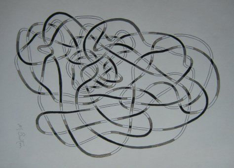 Depth of lines in black and white, in Haken's Gordian Knot.  Mick Burton, continuous line drawing.