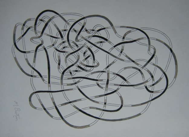 Depth of lines in black and white on Haken Gordian   Knot.  Mick Burton, continuous line.