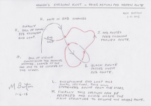 Haken's Gordian Knot, Prior action for the Green Route, before starting main structure.  Mick Burton.