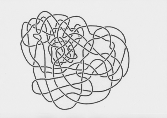 Haken's Gordian Knot, from Ian Agol.  A simple circle of string (an Unknot) formed into a complicated continuous line.