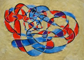Twisting, overlapping colouring of Haken's Gordian Knot. Mick Burton single continuous line drawing painting 2015.
