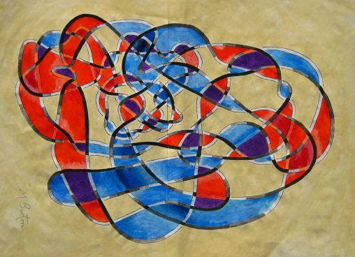 Twisting, overlapping colouring of Haken's Gordian Knot.  Mick Burton continuous line.