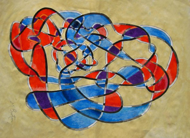 Twisting, overlapping colouring of Haken Gordian Knot.  Mick Burton, continuous line.
