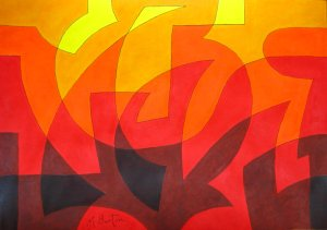Spherical Continuous Line with Colour Sequence.  Forest Fire.  Mick Burton 2015.