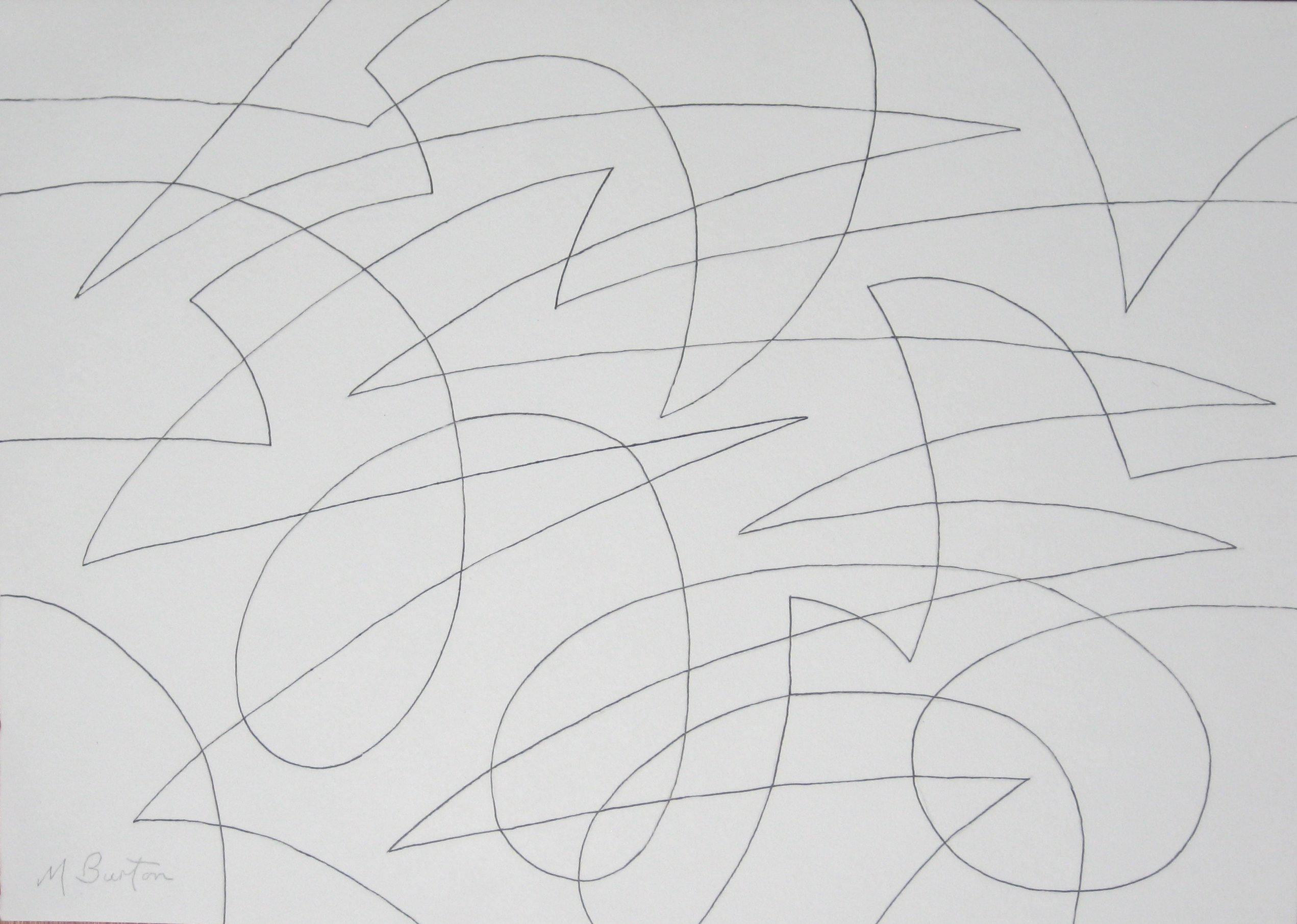 Line Drawing Abstract : Spherical continuous line abstract with colour sequence