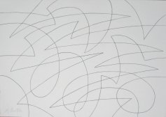 Spherical single continuous line drawing with rolling and jagged lines. Mick Burton 2015.