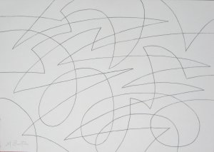 Spherical continuous line drawing with rolling and jagged lines.  Mick Burton 2015.
