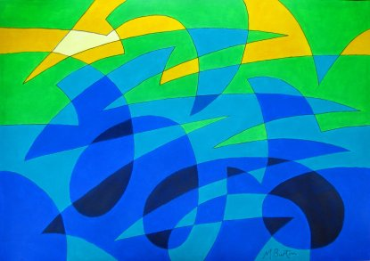 Spherical single continuous line drawing with colour sequence. Flypast Over Rolling Hills. Mick Burton 2015.