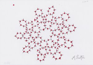Cactus Count, 164 Skydivers all Present and Correct. Mick Burton, continuous line artist, August 2015