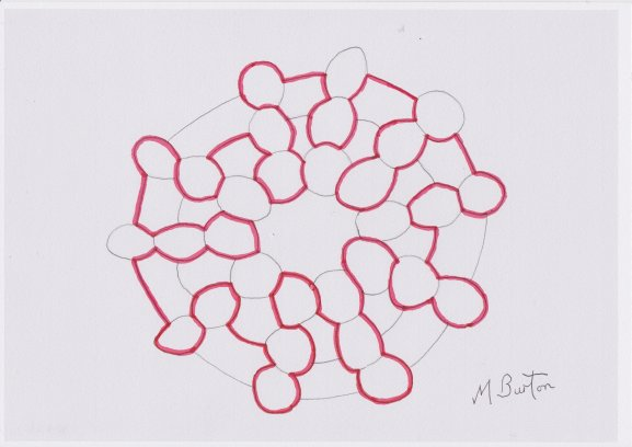 Skydiver formation design with links between out petals completed, overdrawn with a Single Continuous Line using Four Colour Theorem method. Mick Burton.