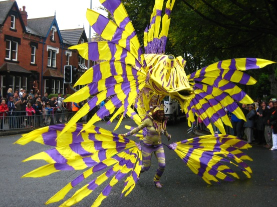 Violet and yellow costume at the Leeds Carnival. Photo by Mick Burton, continuous line artist.