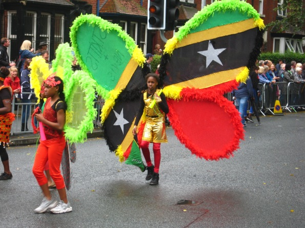 Jamaican costume at Leeds Carnival. Photo Mick Burton, continuous line artist.