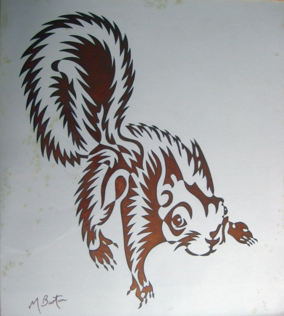 Red Squirrel with copper alternate shading from 1970. Mick Burton, Leeds artist.