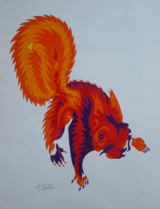 Red Squirrel, single continuous line drawing with colour sequence. Mick Burton, Leeds artist.