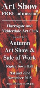 Harrogate and Nidderdale Art Club exhibition at Ripley Town Hall, near Harrogate, 21 & 22 November 2015.