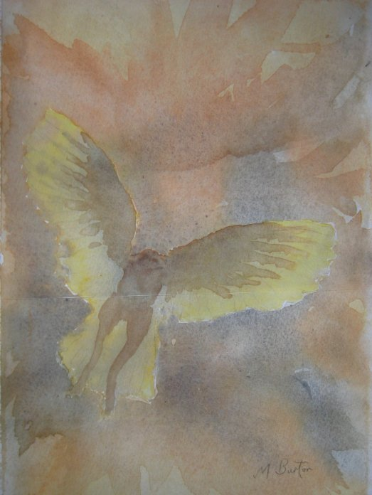 Copy of Wet on Wet watercolour of Barn Owl, before I attempted the continuous line drawing. Mick Burton.