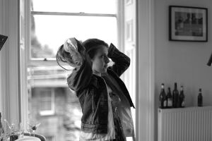 """Joanne Thomson in the Kate's flat, featured in """"BB"""", short film by Kate Burton, Glasgow, 2015.."""