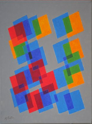 """""""Knight's Tour Fragments"""", acrylic on canvas. Exhibited at Harrogate and Nidderdale Art Club Exhibition in November 2016. Mick Burton, continuous line artist."""