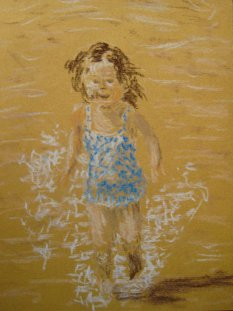Eliza, pastel. March 2014. Mick Burton, continuous line artist. My only attempt at pastels, based upon my photo of her running in water in a park.