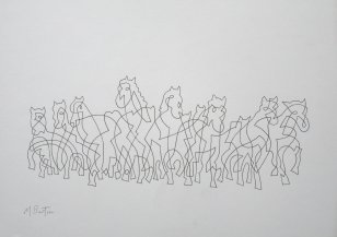 Wild Horses, single continuous line drawing. Demonstration at Stainbeck Arts Club. Mick Burton 2017.