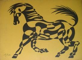 Horse, single continuous line drawing, large screen print, Northern Screenprints Ltd 1969. Mick Burton, continuous line artist.