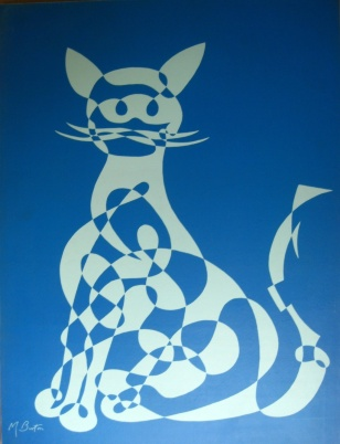 Cat, single continuous line drawing, large screen print by Northern Screenprints Ltd 1969. Mick Burton, continuous line artist.